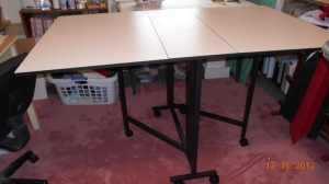 Table top is together and on it's feet (and me too!).  Daughter helped me turn it up and we inspect for sturdiness.