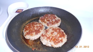Fresh cooked sausage patties ready for a big fat biscuit.