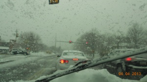 Pouring down snow and can't keep the windshield clear.