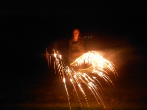 Victoria with some heavy duty sparklers.