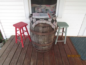 Game barrel for checkers on the porch 062013 (2)