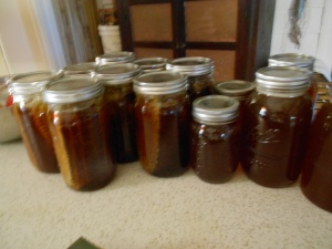 !! quarts of honey w/comb, seven quarts strained honey and four pints of stained honey.