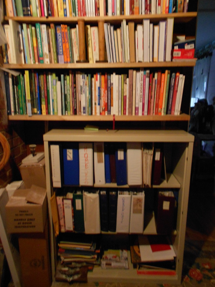 Bookcase4 of decorating, crafts, how-to's, home repair, gardening, crocheting, sewing, everything in order.