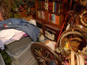 Too much stuff!  I can't even get to the spinning wheel.