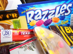 Razzle candies, teaberry gum, licorice