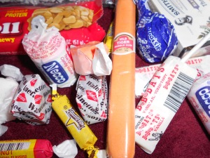 All sorts of gum, taffy, Neccos, lollipops, nut rolls