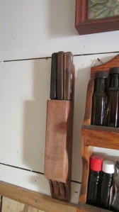 This is a handmade knife holder that was made at the farm as well.