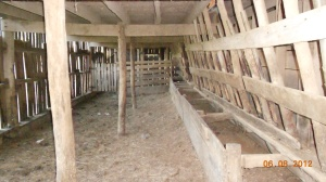 Inside of the larger barn close to the house.