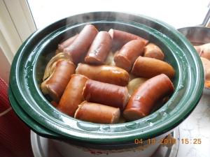 Smoked Sausage on top of the vegies.