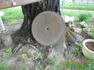 Antique saw blade will be inserted in the center of the table.