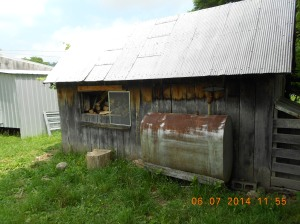 Heating oil tank on the backside of the woodshed.