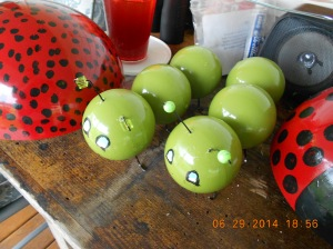 I made them from croquet balls with hubby's help with the drill!