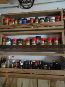 Three spice racks made from oak, cedar and pine and now full and hanging in my country kitchen!