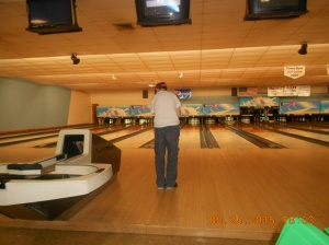 Kevin gets the first bowl.  He was very professional and took tiny steps up to the lane, looked both ways and rolled!!