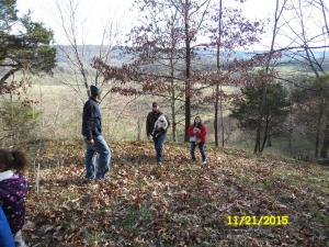 Lavar, Kenny, Ducky and Dana climbing the mountain.