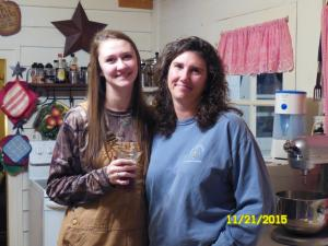 Victoria and Heather, my granddaughter and daugher , we in on the visit too. Victoria was ready to go deer hunting.
