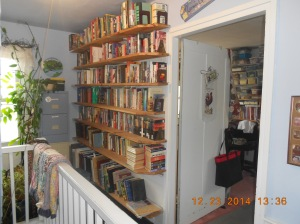 Upstairs foyer book shelves.