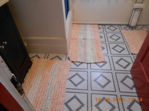 Sink and shower finished rugs.