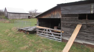 Tractor shed attached to smokehouse.