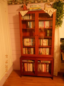 Bookcase in the guest room with Nora Roberts, Karen White, and more.