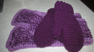 Neck scarf and mittens using Red Heart yarn.