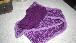 Orchid and lilac in the scarf.