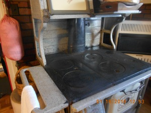 Wood cookstove all cleaned up and ready to warm the kitchen and bathroom and more importantly to cook on!!