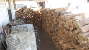 We starting splitting and haul around noon after the wood splitter warmed up enough to crank!
