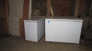 Two of our three freezers.  One is full of meat and the smaller one  is full of fruit and vegetables.