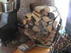 Firewood stand full of oak, locust and wild cheery.  Toasty night to come.