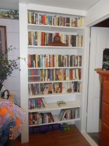 Bookcase with added shelves and painted.