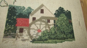 Old Salem Mill cross stitch project (1)