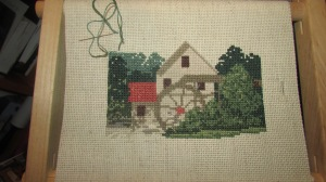 Old Salem Mill cross stitch project (2)