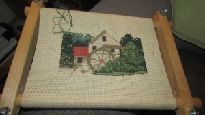 Old Salem Mill cross stitch project (3)