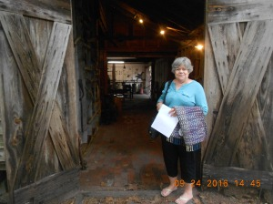 Margaret and I heading into the Blacksmith Shop at Furnace Town.