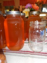 Half-gallon jar compared to a quart jar.