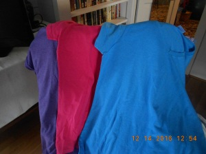 Scoop necked t-shirts because I've got bleach spots on all of my old ones!