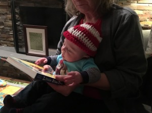 Nana shows me a book from my cousin Victoria.