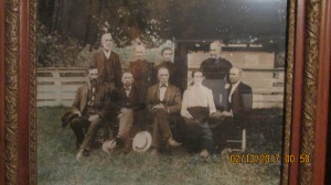 This is a picture of my husbands great aunts and uncles taken at the mansion and the young maple can be seen in the background.