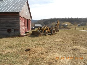 Heavy equipment used to set some gate posts that we didn't replace.